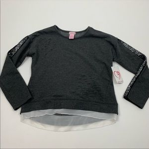 Design History Distressed Sequin Pullover Sweater